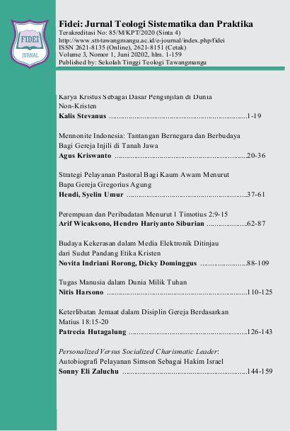 Vol 3, No 1 (2020): Fidei Jurnal Teologi Sistematika dan Praktika